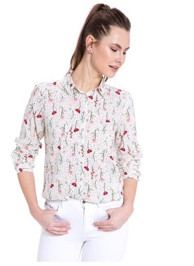 LC Waikiki Çizgili Çiçekli Gömlek Kırmızı